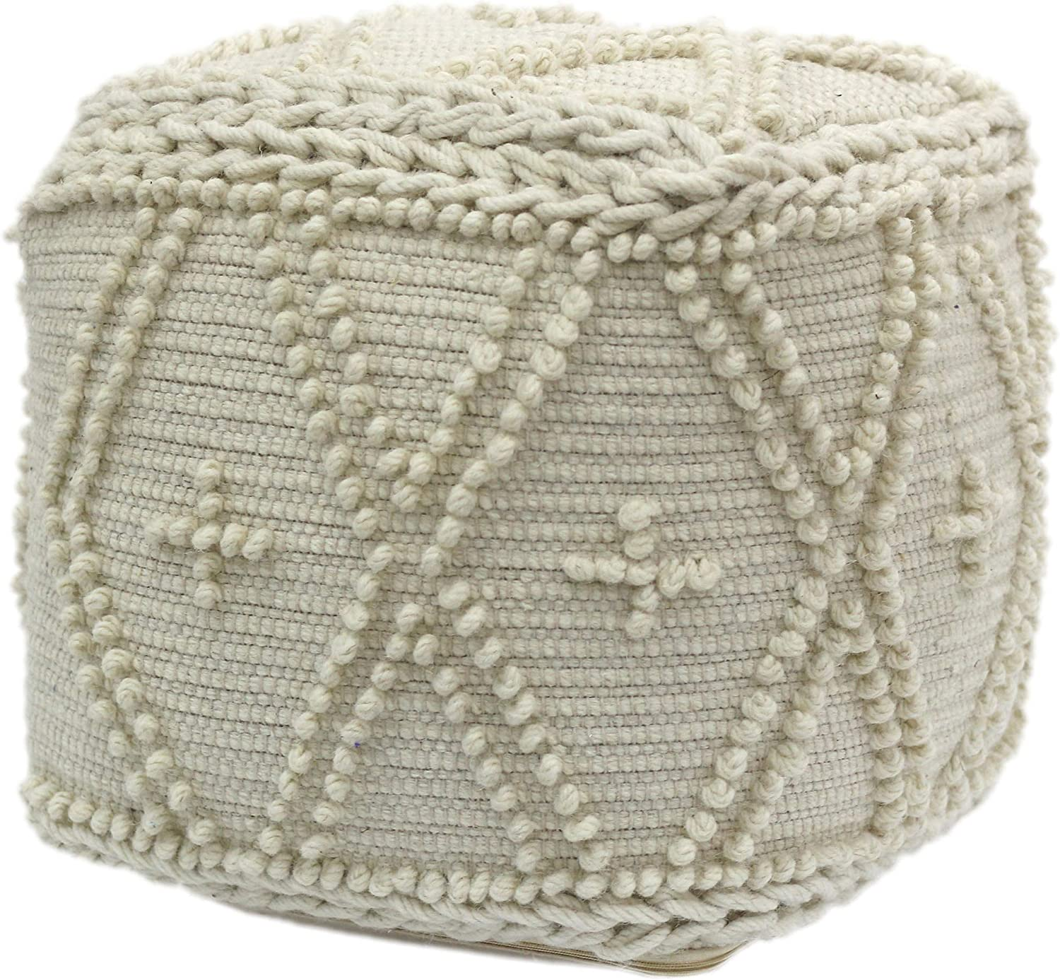 Christopher Knight Home Truda Cube Pouf, Boho, White Wool and Cotton