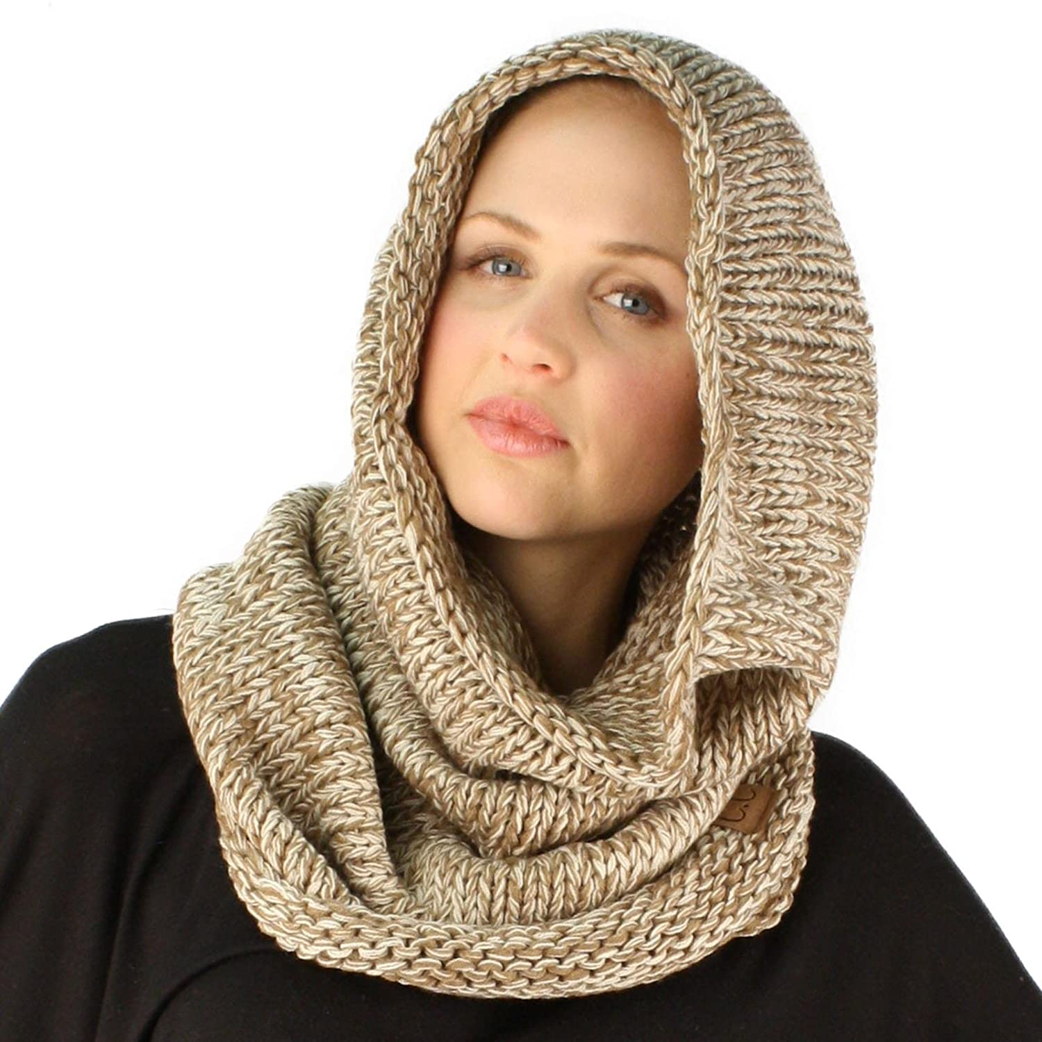 Winter Chunky Long Pullover Knit Single Loop Tube Infinity Hood Cowl Scarf SK-Hat-Shop