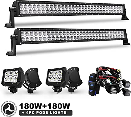 "180 Watt Radius Light Bar 30/"" LED Bulbs for Off Road Flood And Spot Combo Beam"