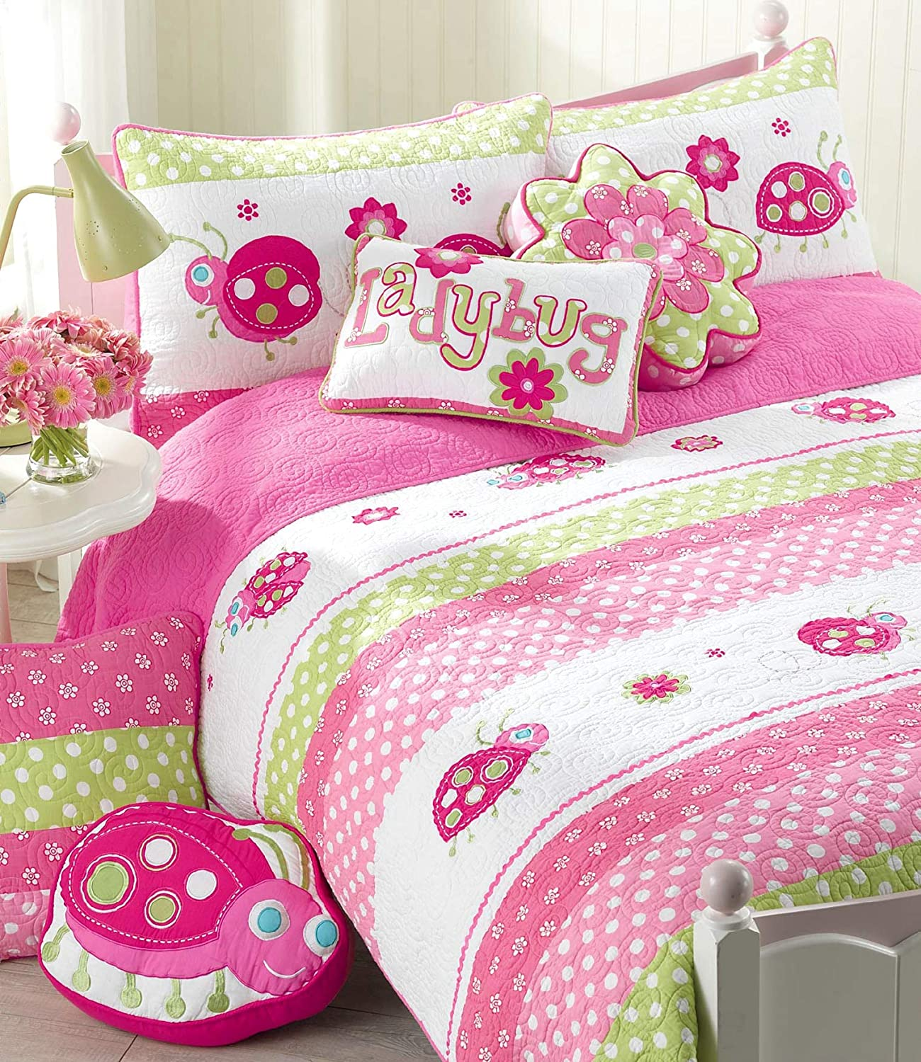 Cozy Line Home Fashions 6-Piece Pink Ladybug Quilt Bedding Set, Green Pink Flower Embroidered 100% Cotton Bedspread Coverlet Gift for Kids Girls