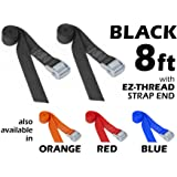 "1½"" x 8ft PowerTye Made in USA Heavy-Duty Lashing Strap with Heavy-Duty Buckle, Black, 2-Pack"