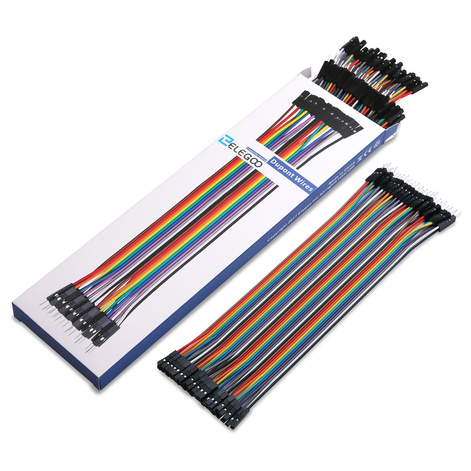 Elegoo El Cp 004 120pcs Multicolored Dupont Wire 40pin Dupon Jumper 20cm 20pcs Mm Ff Mf Male To Female Breadboard Wires Ribbon