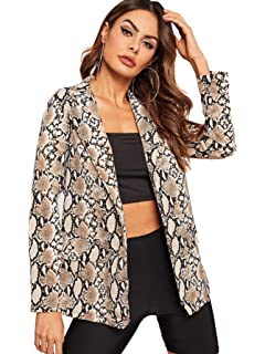 Womens Open Front Jacket Long Sleeve Leopard Print Blazer ...