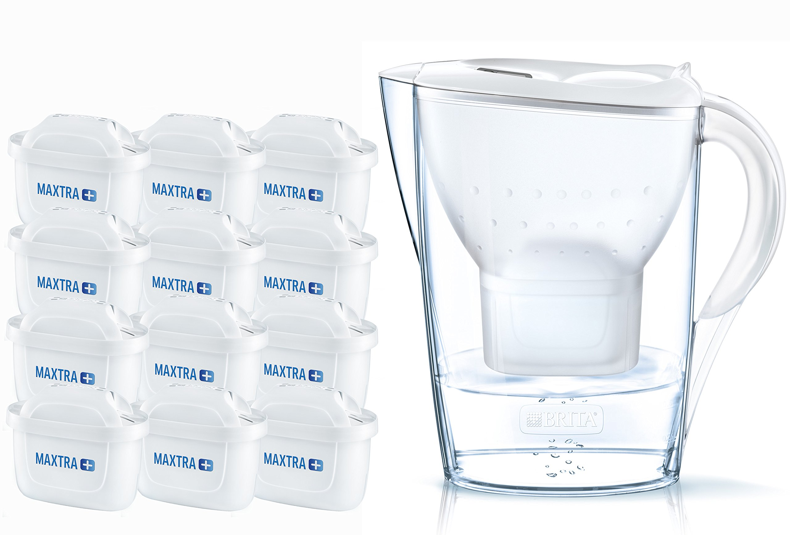 BRITA Marella Cool Water Filter Jug 2.4 liters and 12 Cartridges Annual Pack, White