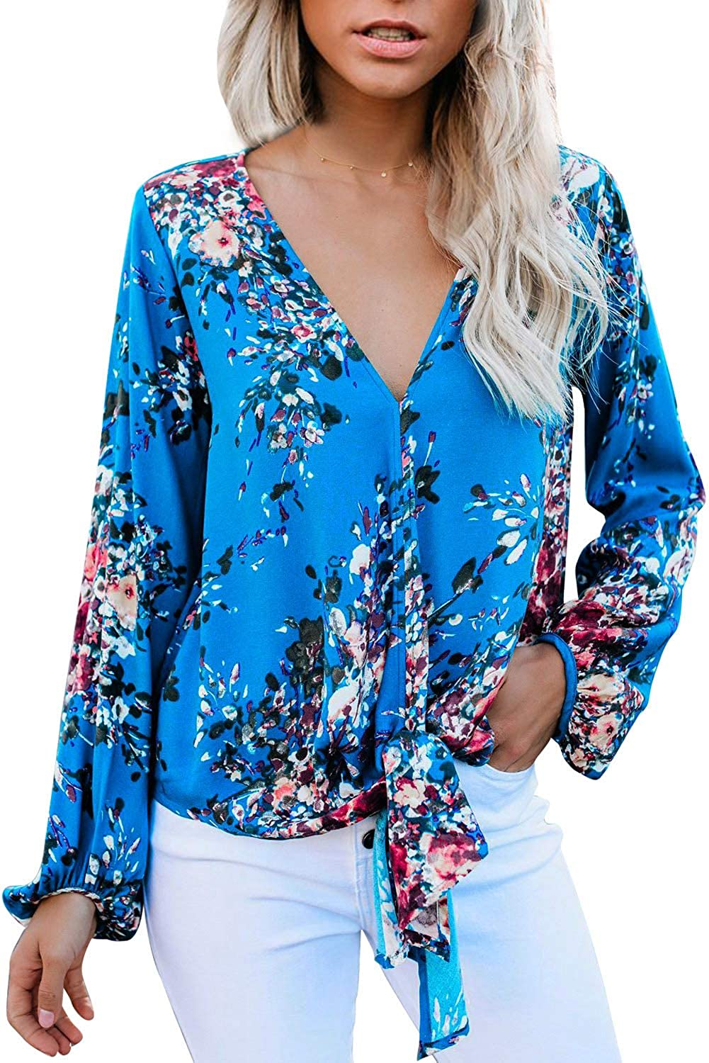 Womens Blouses Tops Floral Tie Knot Front Blouse Long Sleeve V Neck Casual Loose Fitting Shirts Floral Sky Blue L