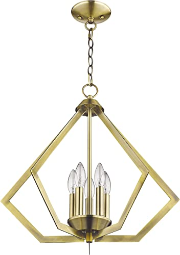 Livex Lighting 40925-01 Prism 5 Light Antique Brass Chandelier