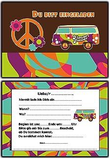 Einladungskarten Kindergeburtstag Hippie Retro Flower Power   10 Stück