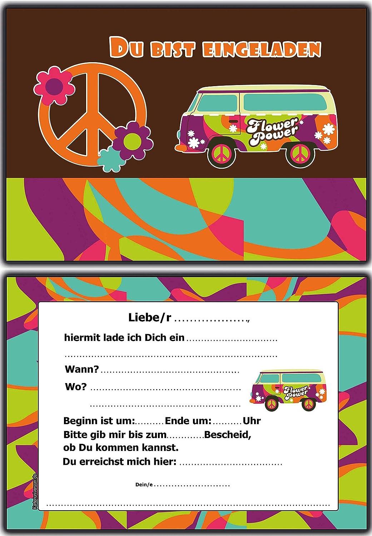 Invitaciones Cumpleaños infantiles hippie retro Flower Power ...