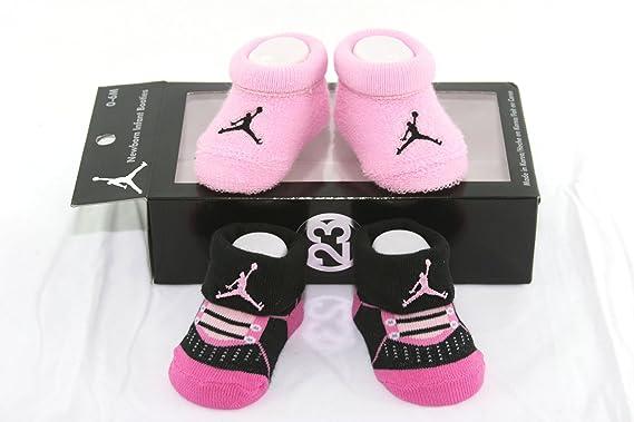 Jordan Nike Air 2 Pares recién Nacido bebé Patucos Calcetines Negro ...
