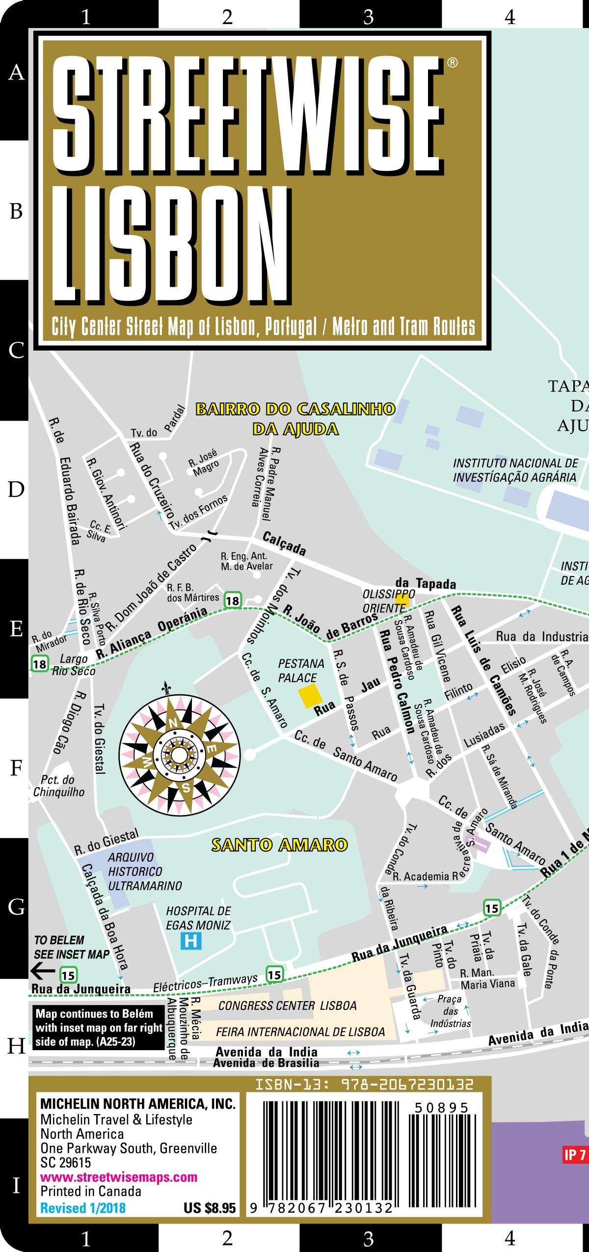 Streetwise Lisbon Map - Laminated City Center Street Map of ...