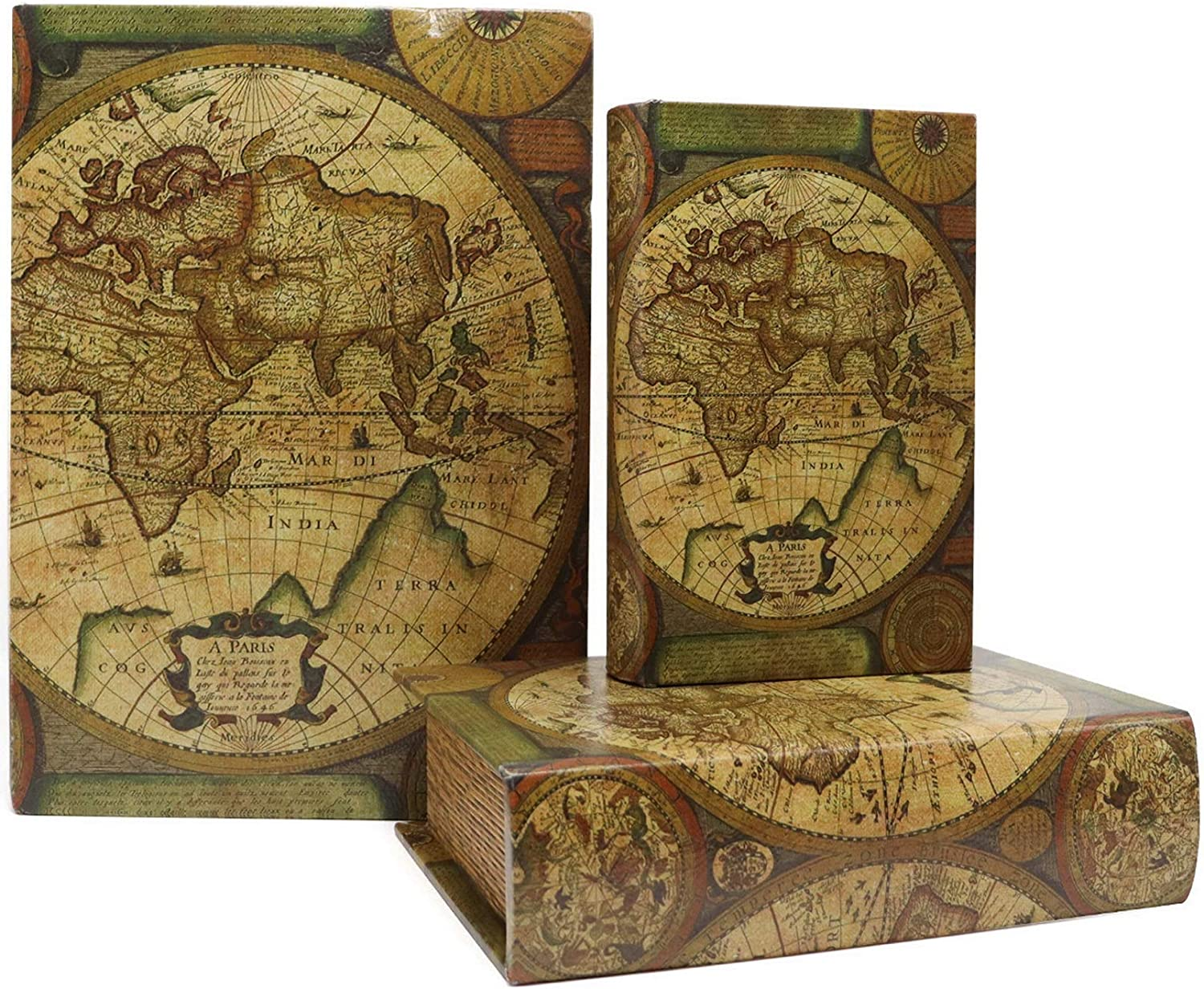 Jolitac Decorative Book Boxes World Map Pattern Antique Book Invisible box with Magnetic cover, Faux Wood Set of 3 Storage Set (Map)