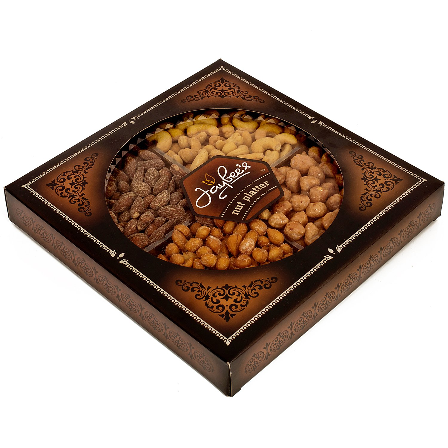 Jaybee's Nuts Gift Tray - Great Holiday, Corporate, Birthday Gift, or as Everyday Healthy Snack - Cashews, Smoked Almonds, Toffee & Honey Roasted Peanuts, Vegetarian Friendly and Kosher by Jaybee's (Image #1)