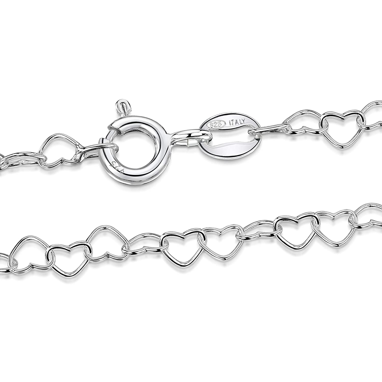 Amberta® Joyería Collar Fina Plata De Ley Cadena de Corazón mm cm