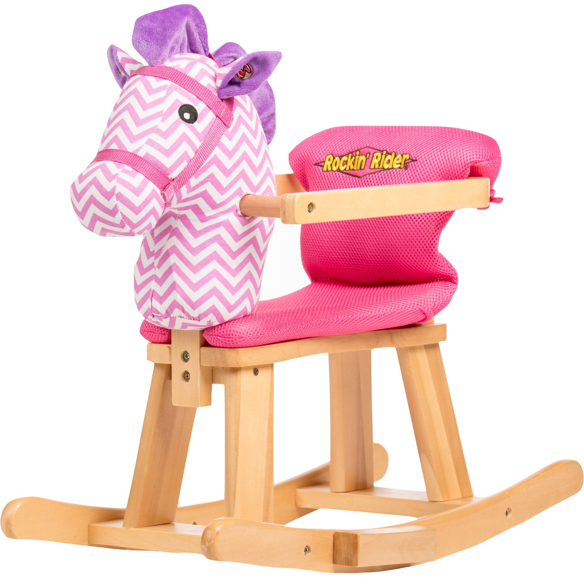TOUGH DURABLE SUPER COMFY SO ADORABLE PINK AND PURPLE Rockin' Rider Tip-Toe Baby's First Rocker With Removal Cushion Seat For Easy Cleaning