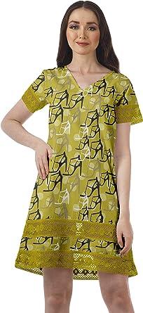 Moomaya Algodón Flex Manga Corta Vestidos para Mujer Vestido De Playa Estampado: Amazon.es: Ropa y accesorios