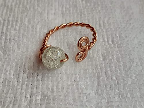 Silver Wire Wrapped Clear Crackle Stone Ring