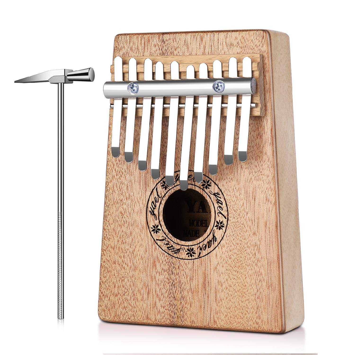 Flexzion Kalimba 10 Keys Thumb Piano, Mbira 10 Tone Finger Piano Portable African Musical Instrument with Musical Scorebook/Learning Booklet, Tune Hammer, Storage Carrying Bag