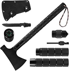 Survival Camping Portable Axe, Folding Tactical Axe Hatchet with Hammer, Survival Kit Tactical Tomahawk with Nylon Sheath for Outdoor Hiking Hunting, Black