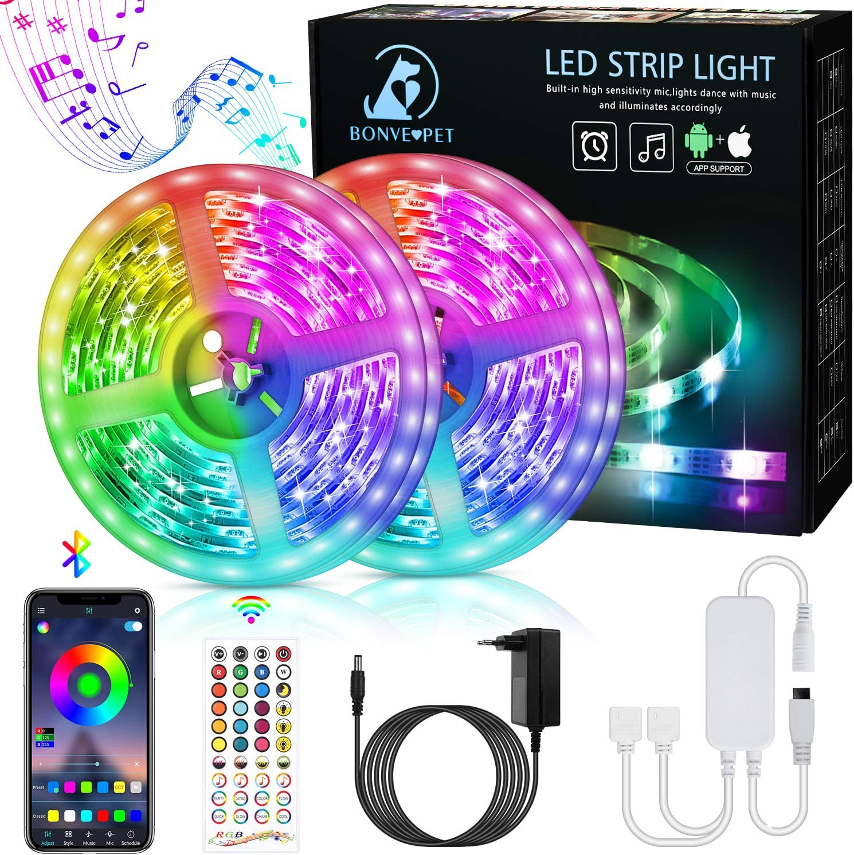 Bonve Pet 12M Tiras LED RGB 5050, Bluetooth Musical Tiras LED 12V Tiras de Luces LED Iluminación, Control de APP y Remoto Control de 40 Teclas,16 Millones de Colores, Modo Temporizador