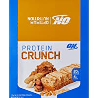 Optimum Nutrition Protein Crunch Bars Peanut Butter Box of 12 Protein Bars, 12 Pack
