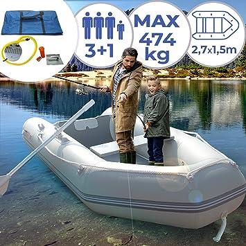 Jago Barca Hinchable para 3 Personas - 270 x 152 cm, con 2 Remos ...