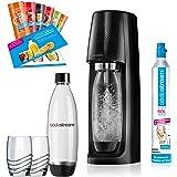 SodaStream Easy PROMOPACK Wassersprudler Zum Sprudeln von Leitungswasser, Ohne schleppen! mit 1 Zylinder, 2 * 1L Pet Flasche (BPA Frei!), 2 Design Trinkgläsern Sowie 6 Sirupproben; Farbe: Schwarz