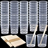 Coopay 100 Pack 30ml/1oz Plastic Graduated Cups Transparent Scale Cups Clear Epoxy Mixing Cups with 100 Pack Wooden…