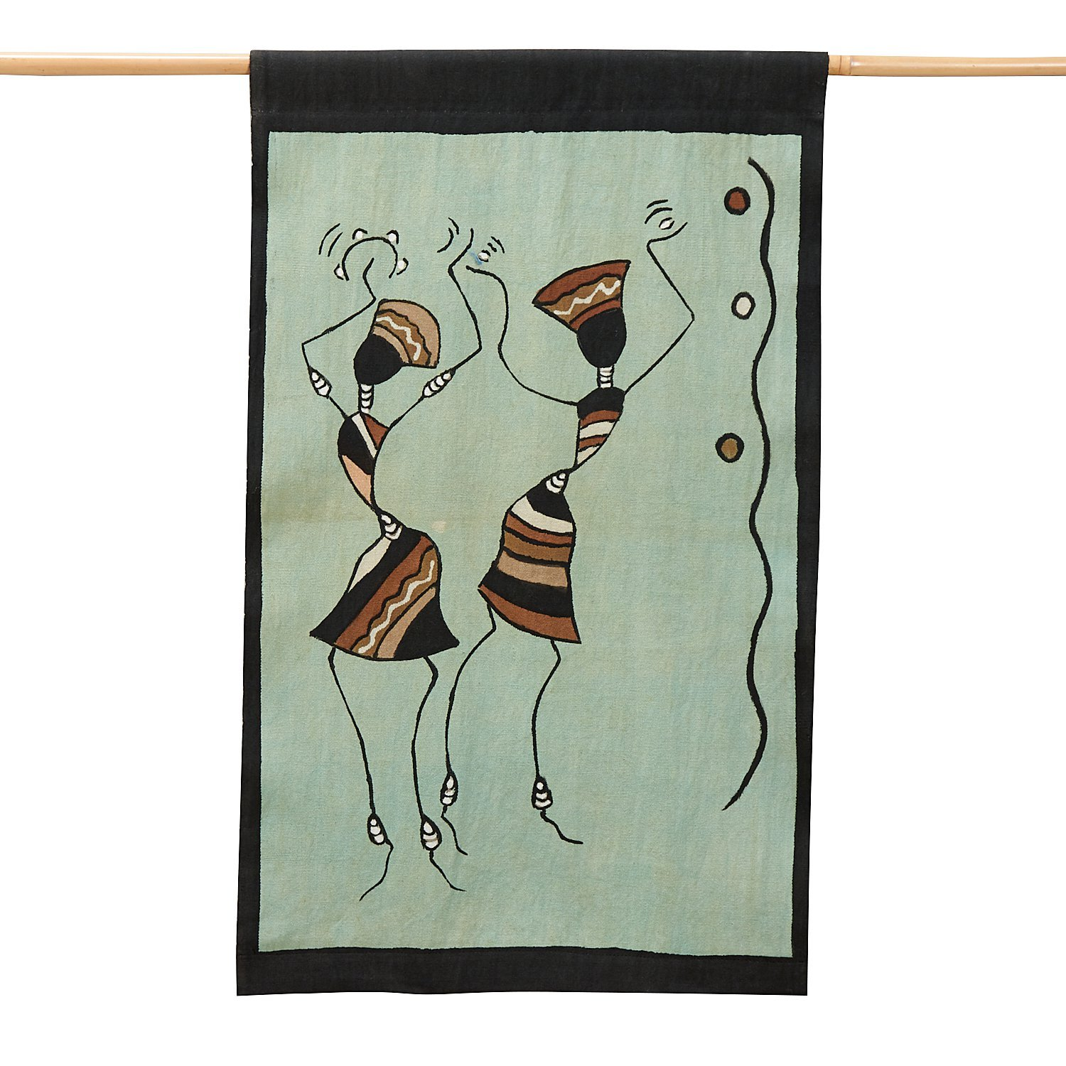 Ten Thousand Villages Olive And Brown Mud Cloth Cotton Wall Hanging 17''x28'' 'African Dance Wall Hanging'