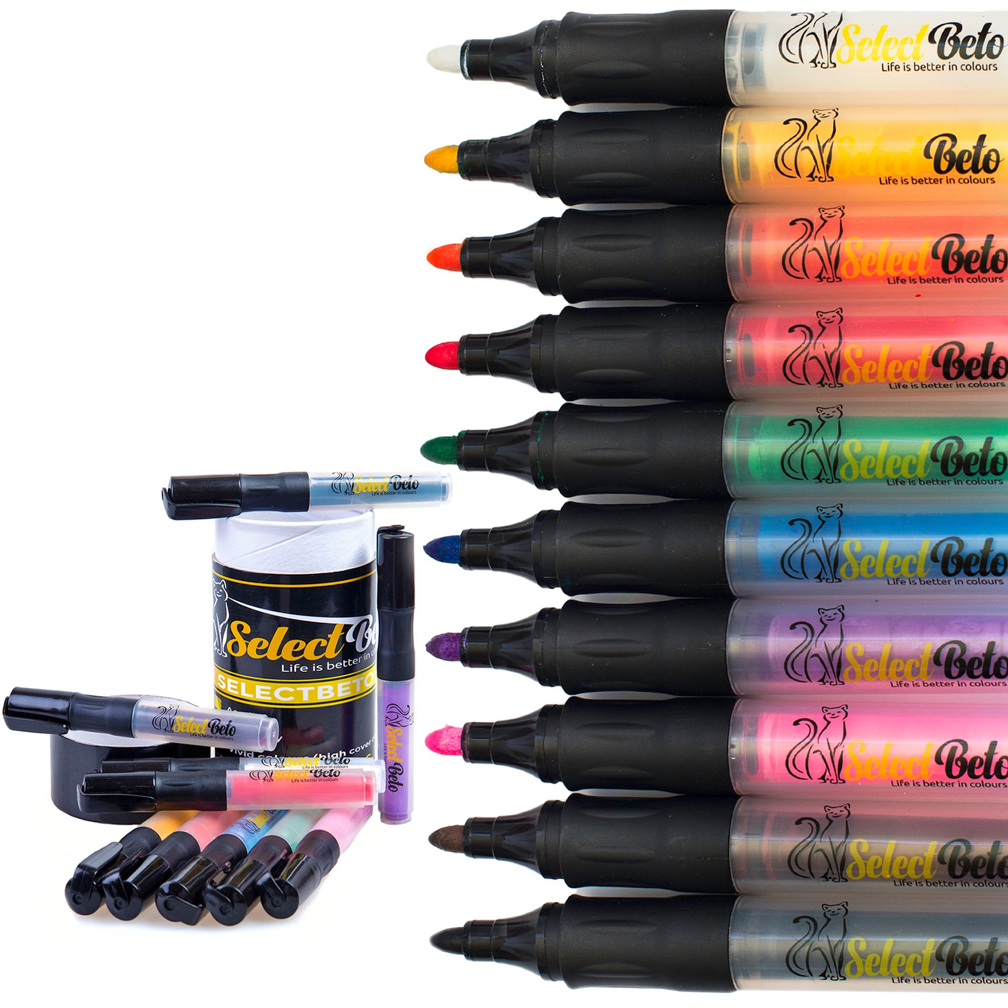 Paint Pens Markers for Rock Painting- Canvas, Glass, Wood,Ceramic, Pottery, Clay, Fabric. 10 Acrylic Paint Pen- Vibrant Medium tip in a Set by SelectBeto