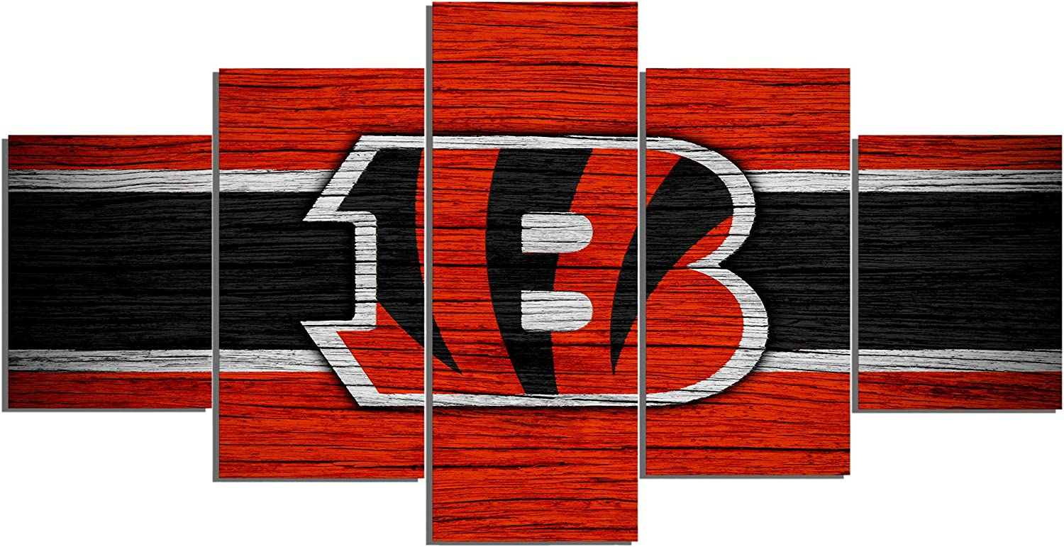 Cincinnati Bengals NFL Foolball Art Canvas Posters Home Decor Wall Art Framework 5 Pieces Paintings for Living Room HD Prints Sports Pictures (L,No Framed)