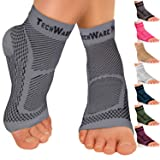 TechWare Pro Ankle Brace Compression Sleeve - Relieves Achilles Tendonitis, Joint Pain. Plantar Fasciitis Foot Sock with Arch Support Reduces Swelling & Heel Spur Pain. (Gray, L/XL)