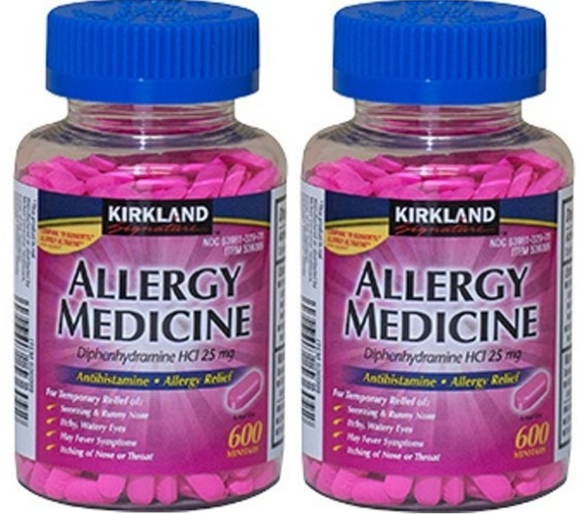 Diphenhydramine HCI 25 Mg - Kirkland Brand - Allergy Medicine and AntihistamineCompare to Active Ingredient of Benadryl® Allergy Generic 1200 count