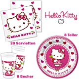 Hello Kitty Geburtstag: 36 Teiliges Set, Teller, Servietten Und Becher  Kindergeburtstag Kindergeschirr