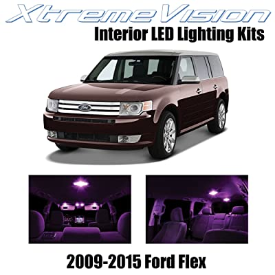 Xtremevision Interior LED for Ford Flex 2009-2015 (8 Pieces) Pink Interior LED Kit + Installation Tool: Automotive