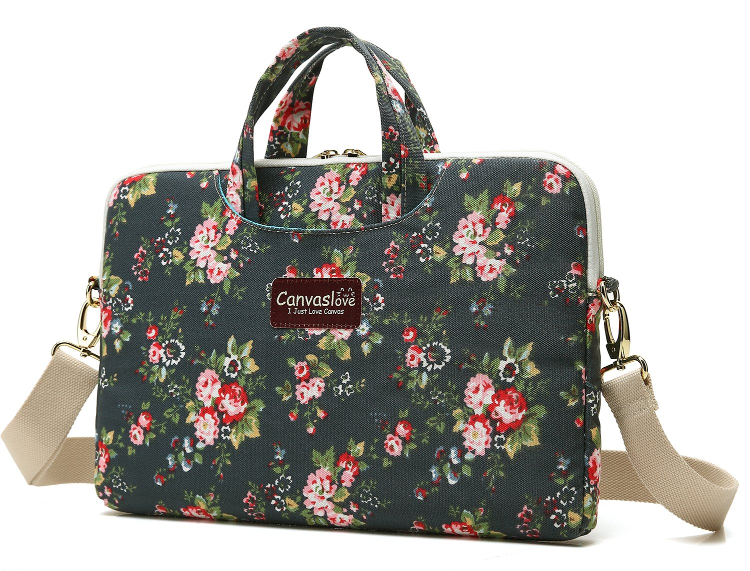 Canvaslove Flower Pattern Canvas Laptop Shoulder Messenger Bag case 14 inch 15 inch Laptop Laptop Briefcase 15.6 inch