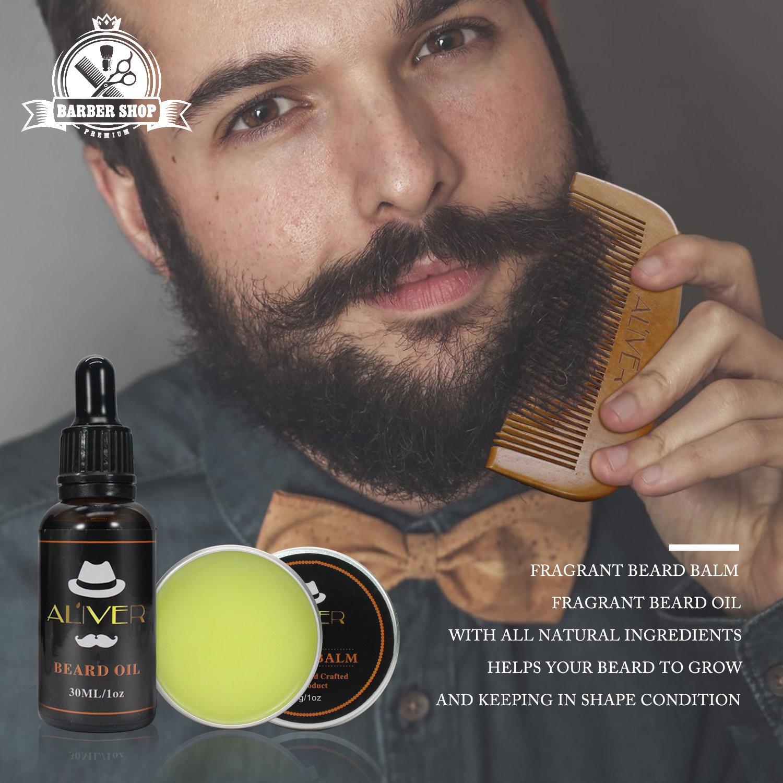 Kit de Cuidado de la Barba para Hombres, Aceite de Barba, CeraBálsamo Barba y Bigote, Cepillo Barba, Peine Barba, Tijera de Bigote Para el estilo -Regalo ...