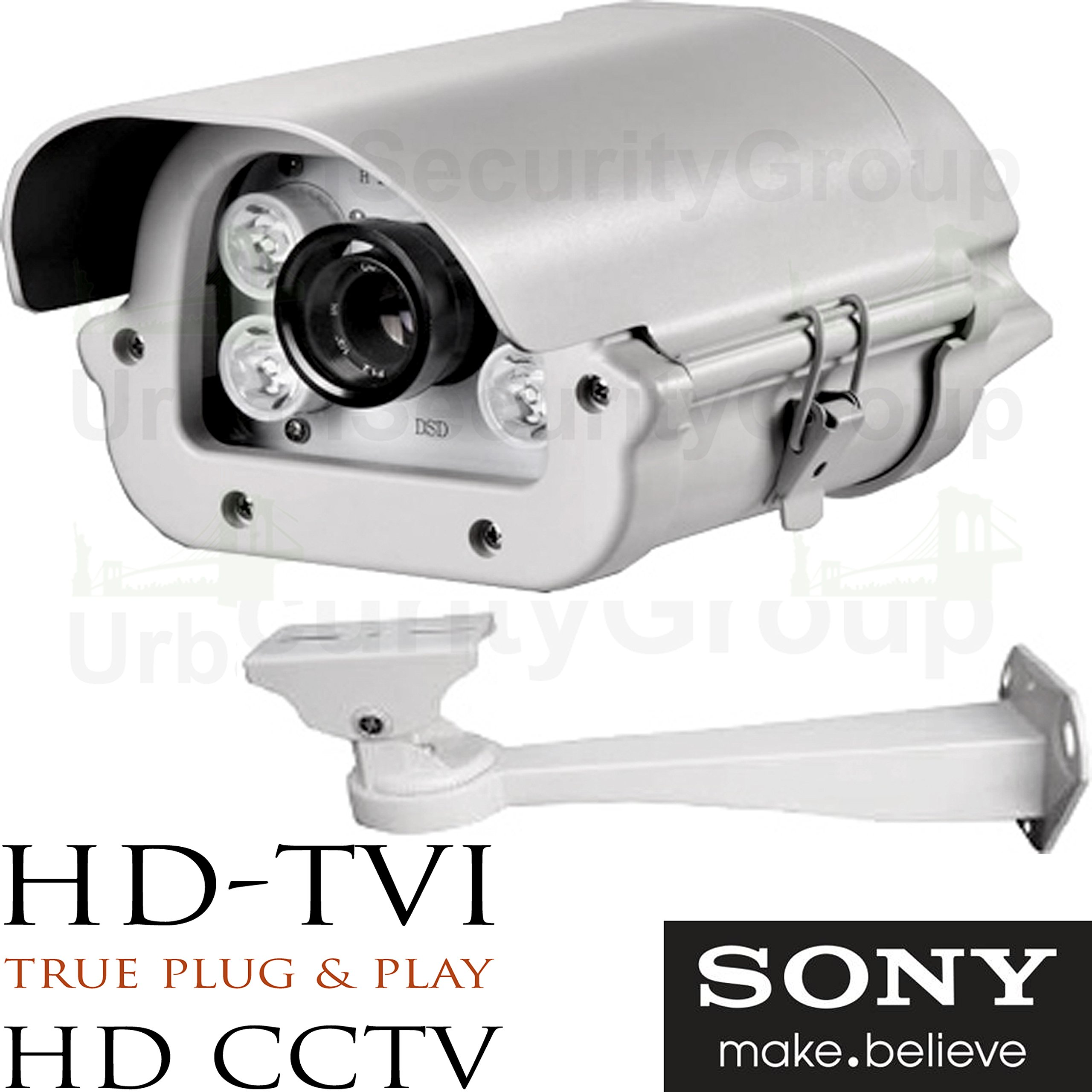 USG 2.4MP 1080P Sony Chipset License Plate Recognition LPR Capture Bullet Security Camera : 5-50mm Vari-Focal HD Lens : 4x Array Infrared LEDs : HD-TVI, HD-CVI, AHD, Analog CCTV Format, Business Grade