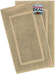 American Bath Towels, 2 Pack 20x34 Soft & Absorbent 900 GSM Premium Hotel & Spa Quality Ringspun Turkish Cotton Banded Bathroom Bath Mat Set, Sand Taupe