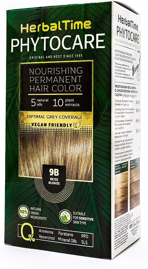 Herbal Time Phytocare Tinte permanente y nutritivo para cabello sin amoniaco, sin PPD, sin SLS, sin parabenos, Color Rubio Beige 9B