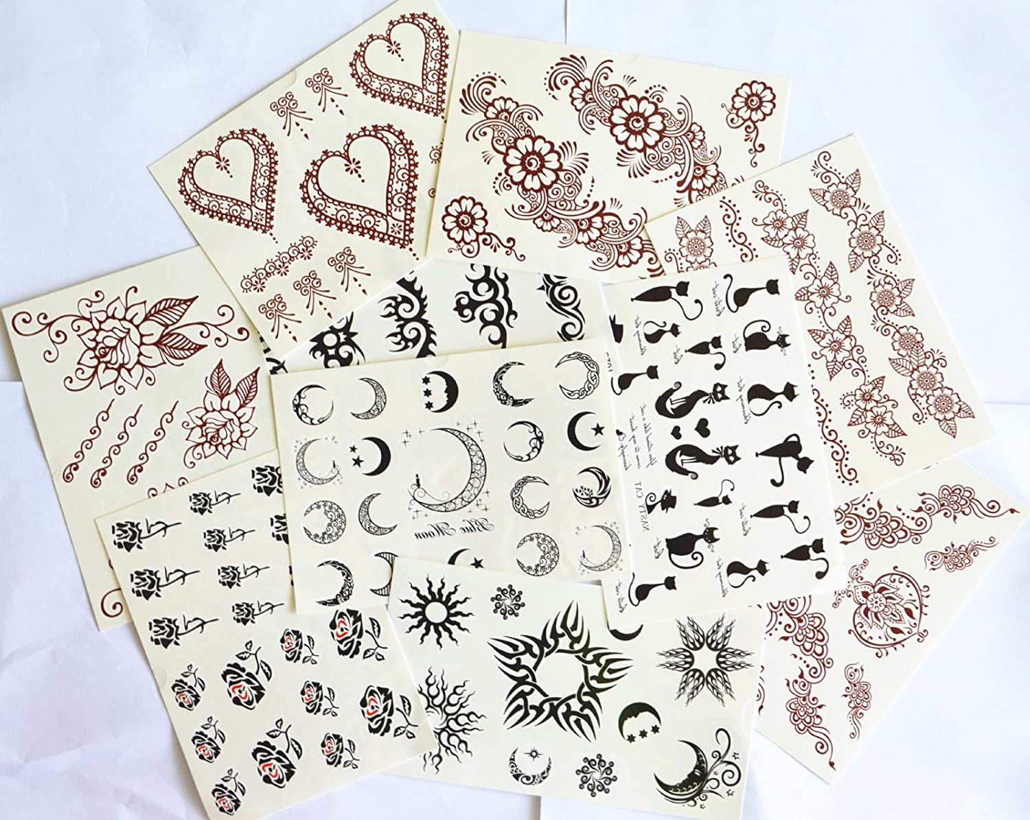 10pcs/package hot selling tattoo sticker stickers various designs including Indian tribes followers tattoos/heart jewelry/roses/moons/stars/cats/totems/etc. supplier