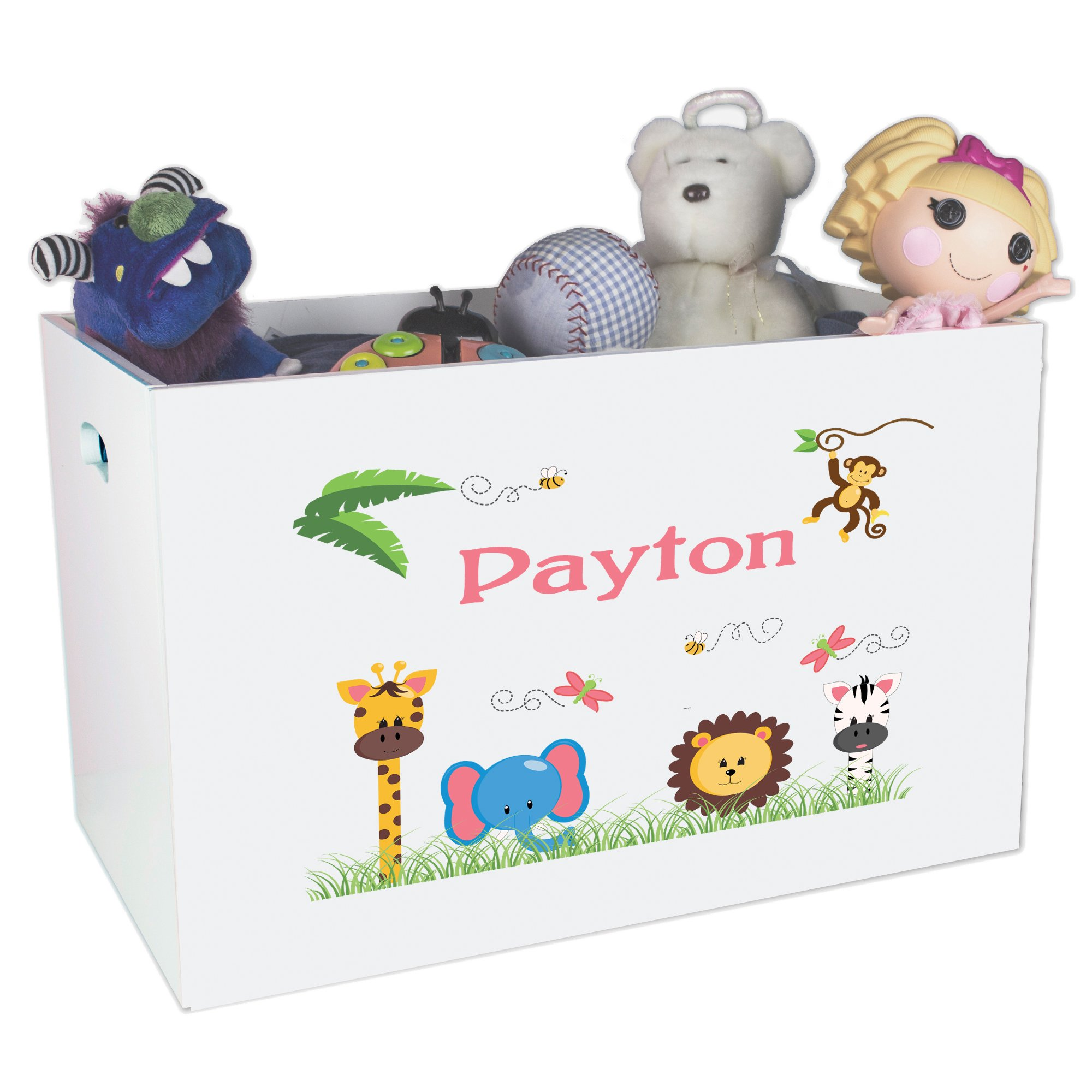 Personalized Animals Girl Childrens Nursery White Open Toy Box