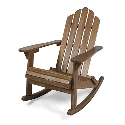 Great Deal Furniture Cara Outdoor Adirondack Acacia Wood Rocking Chair, Dark  Brown Finish