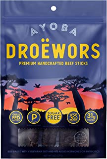product image for Ayoba Droewors Beef Sticks - Grass Fed, Keto and Paleo Certified Air-Dried Sausages - Whole 30 Approved, No Sugar, Gluten Free, No Nitrates - Healthy and Natural Snacks (2 Ounce)