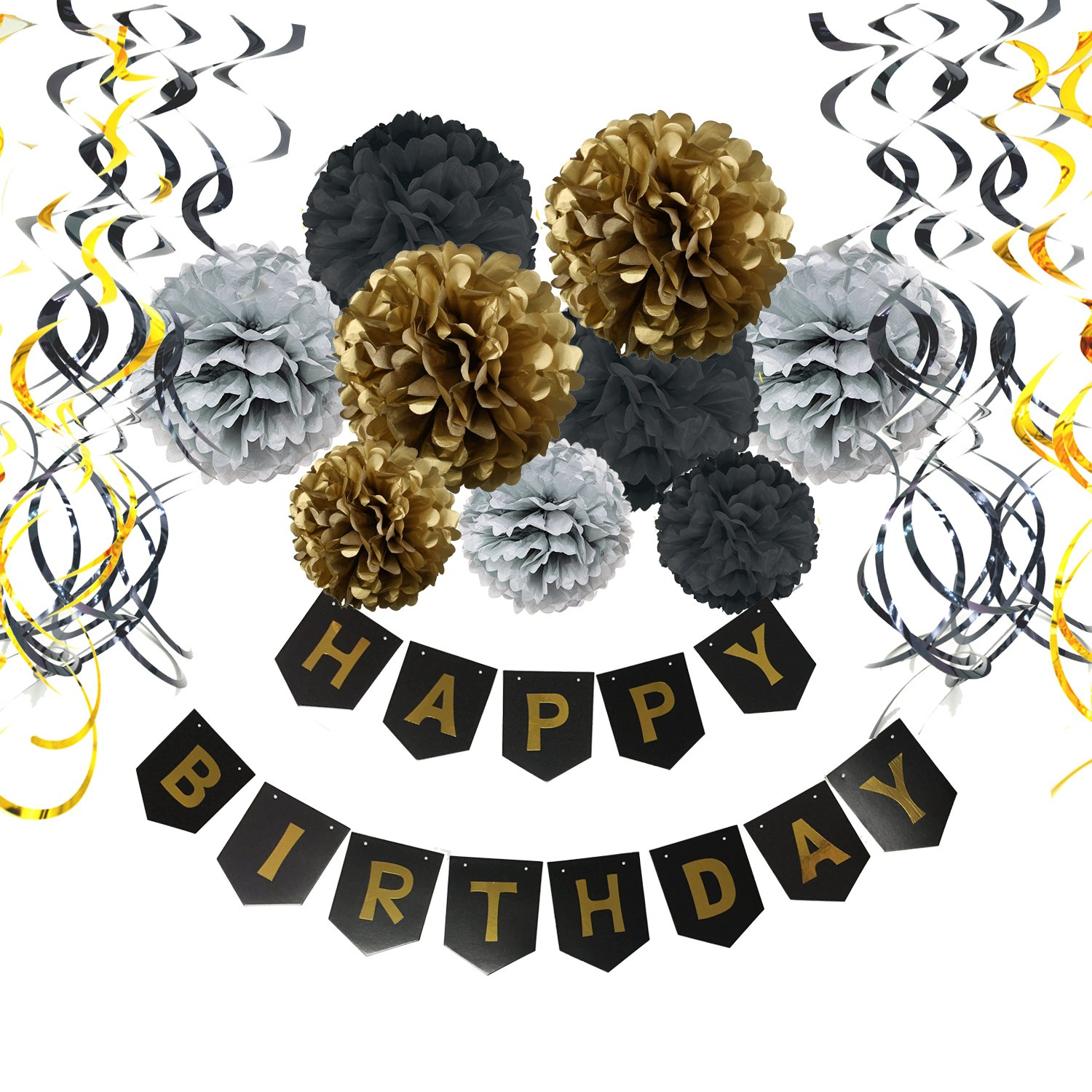 Birthday Decorations, Cocodeko Happy Birthday Banner Bunting with Tissue Paper Pom Poms and Hanging Swirl Decor for Birthday Party Decorations - Black, Gold and Silver