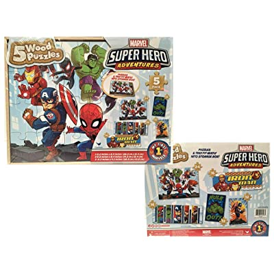 5 Wood Puzzles Set Marvel Super Hero Adventures: Toys & Games