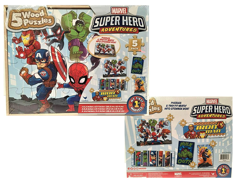 b474b95d614fef Amazon.com  5 Wood Puzzles Set Marvel Super Hero Adventures  Toys   Games