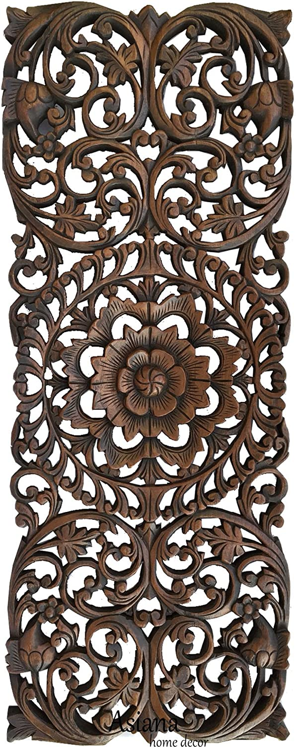 """Tropical Wood Panel Home Decor/Headboard. Wood Carved Floral Wall Art Size 35.5""""x13.5"""" Extra Thick (Dark Brown)"""