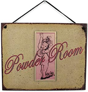 Egbert's Treasures 8x10 Vintage Style Sign with Girl Saying, Powder Room Decorative Fun Universal Household Signs for Your Bathroom