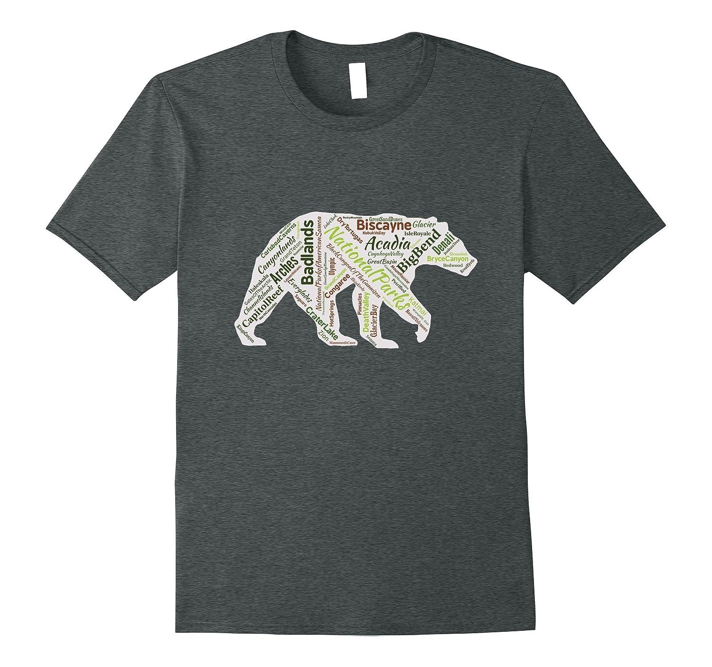 All 59 National Parks Bear Word Cloud T-Shirt