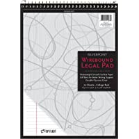 Silverpoint Top Wire Legal Pad, College Rule, Heavy Back, 8.5 x 11.75 Inches, 70 Sheets, Protective Cover, Gray/Black…